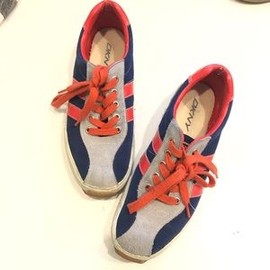 DKNY Navy Red Suede Bowling Sneakers size 8.5